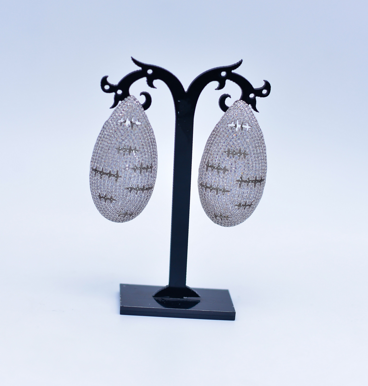 Oval Shaped Silver Earrings