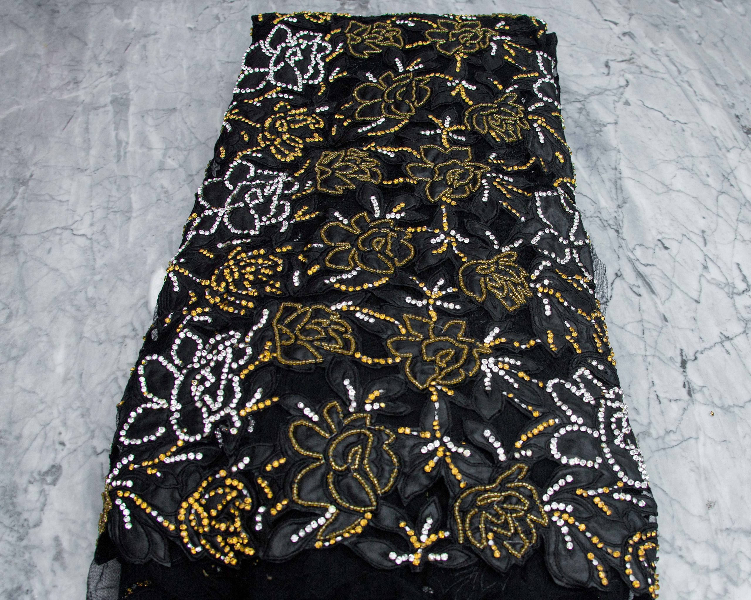 Black And Gold Stoned Quality Fabric