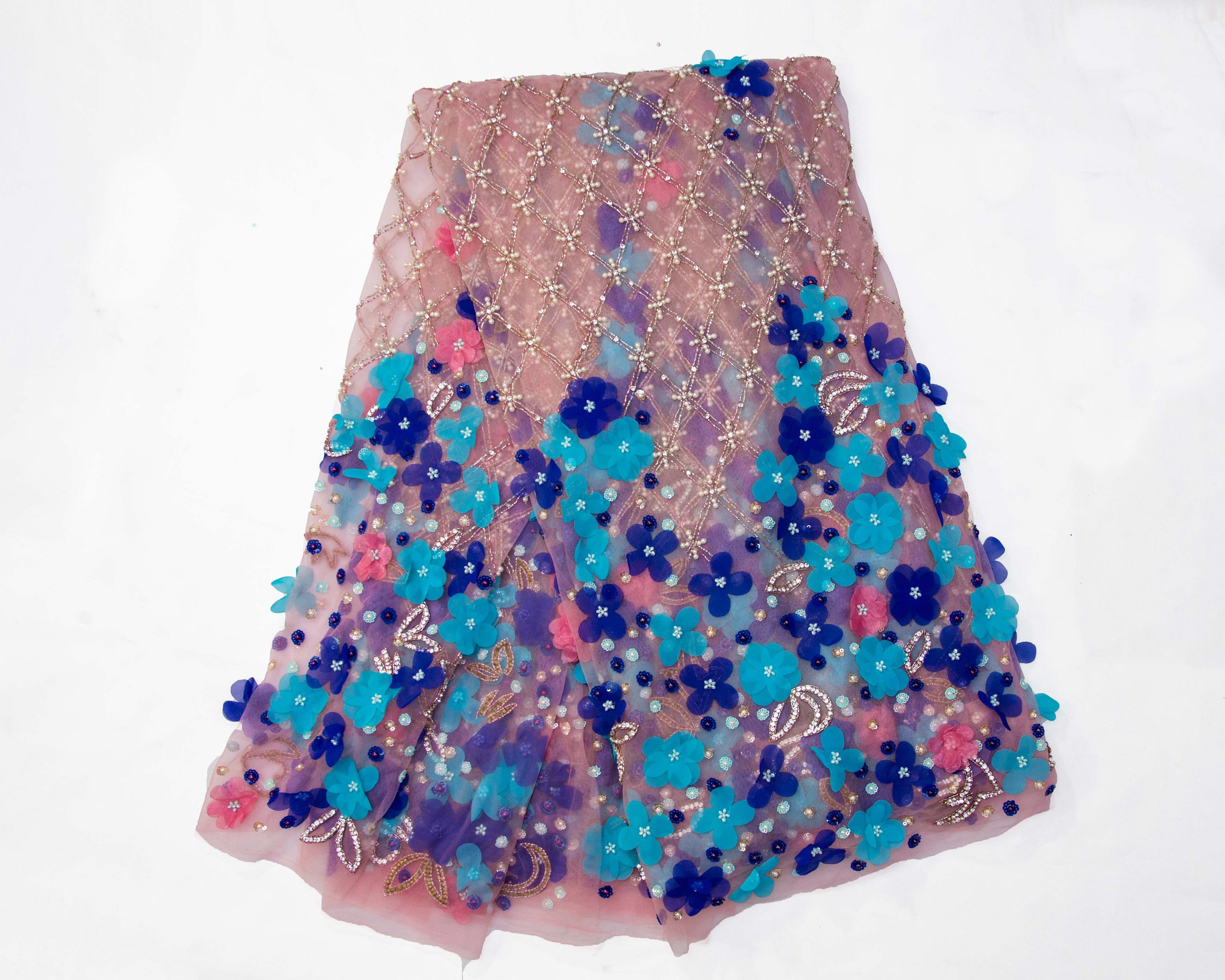 Blue And Pink Petal Lace
