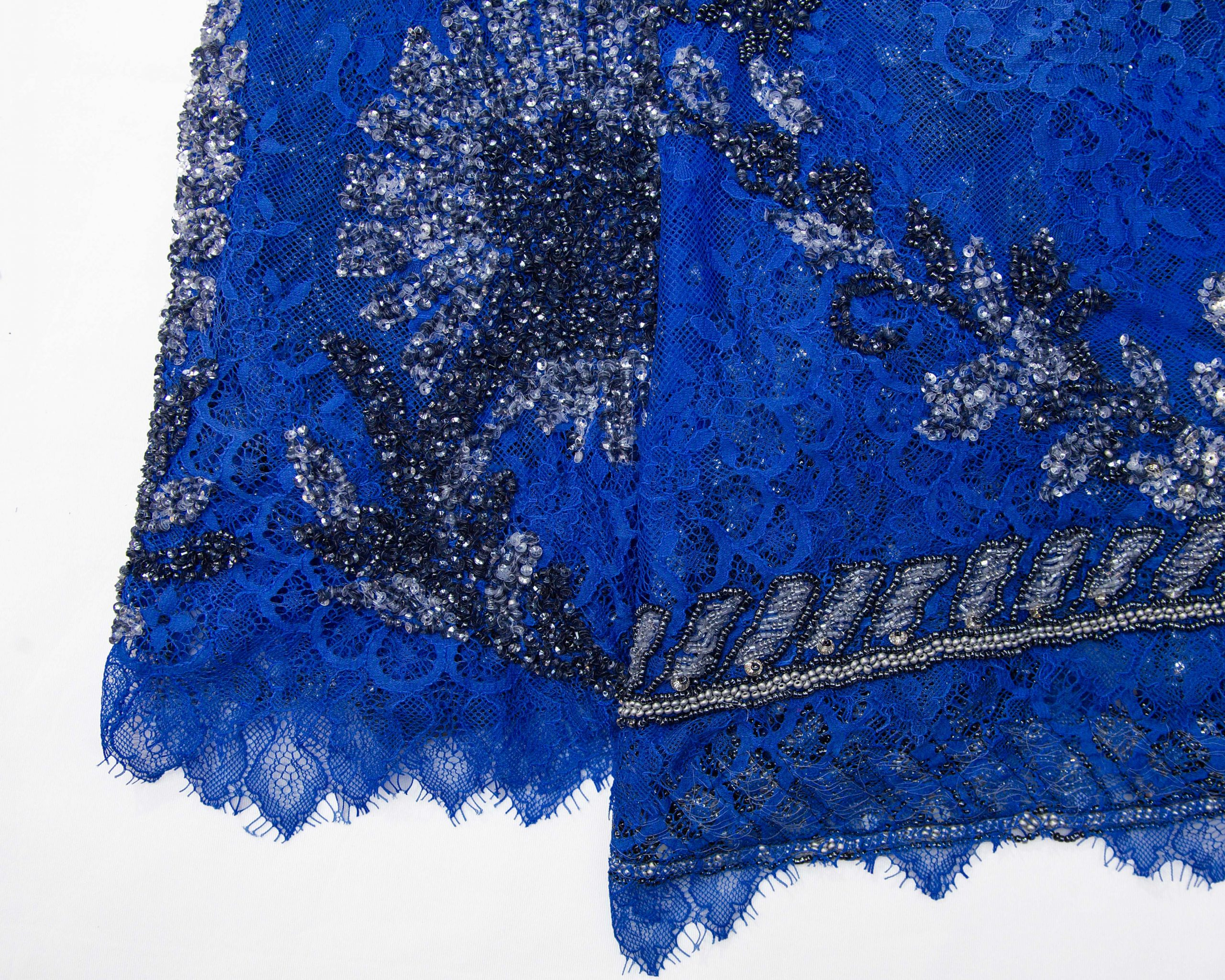Royal Blue Beaded Stoned Panel Lace