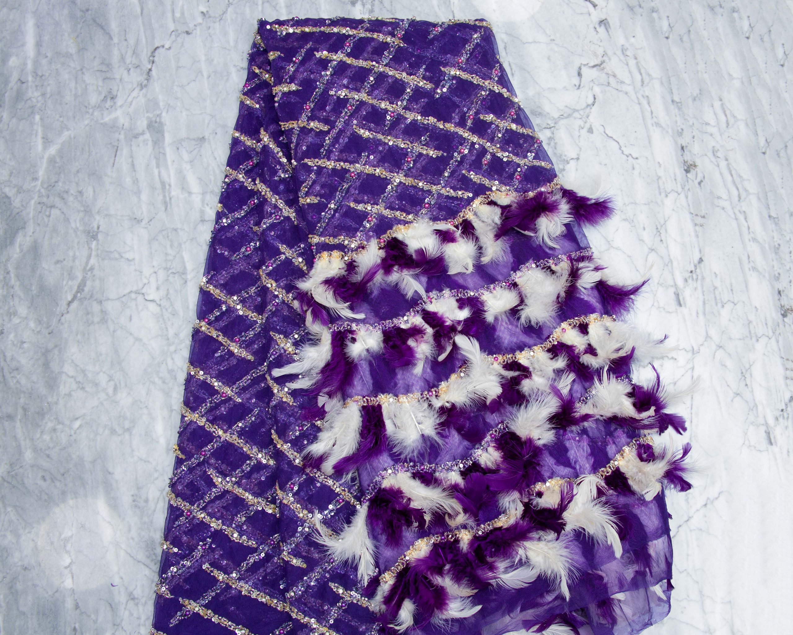 Purple Feathered Panel Lace