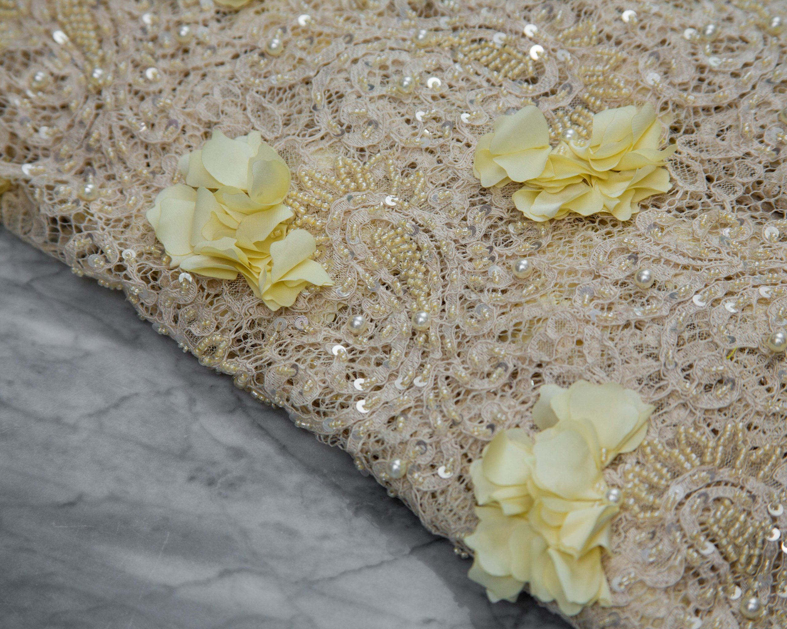 Beaded And Petaled Panel Lace