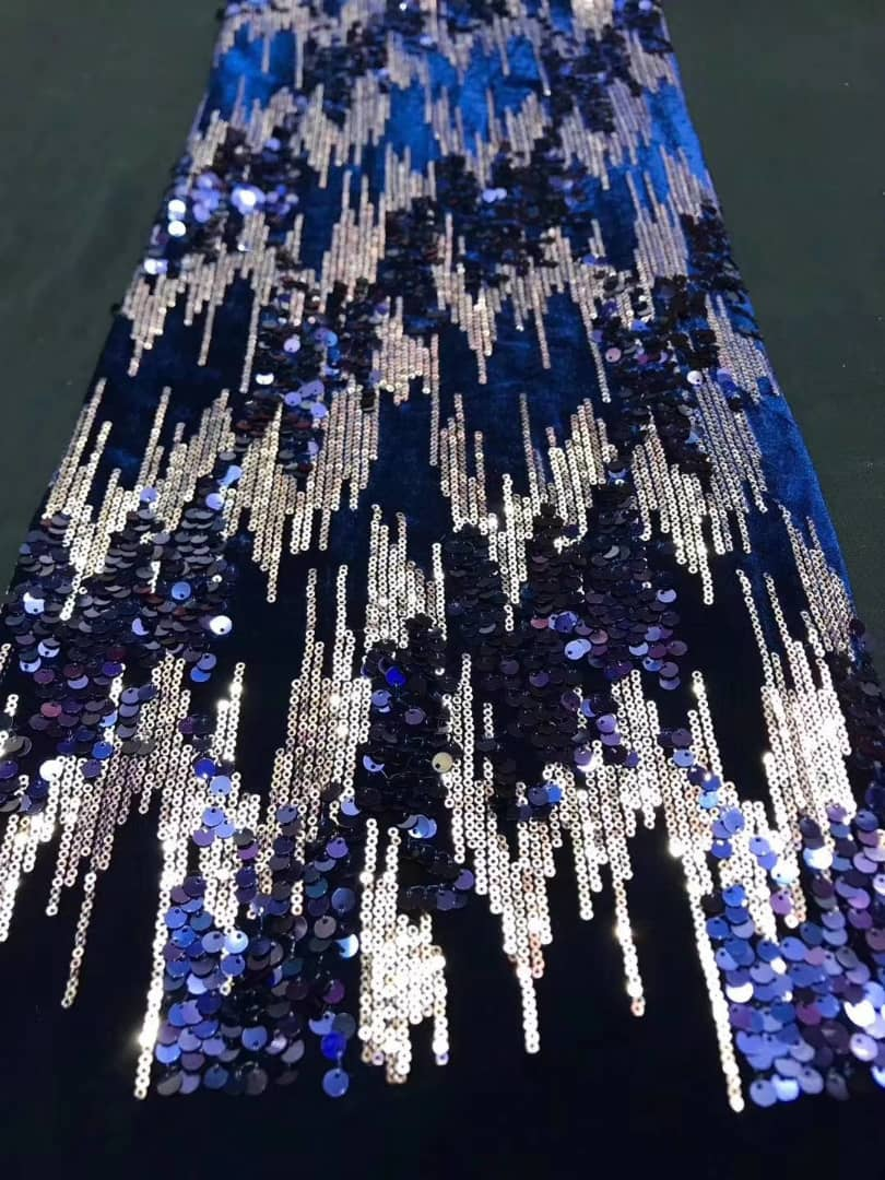 EGYPTIAN BLUE SEQUIN LACE FABRIC
