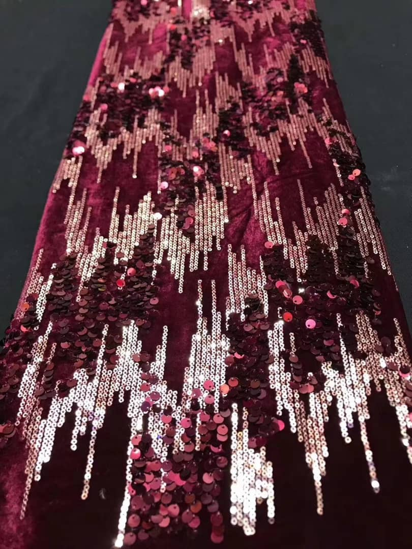 BURGUNDY SEQUIN LACE FABRIC