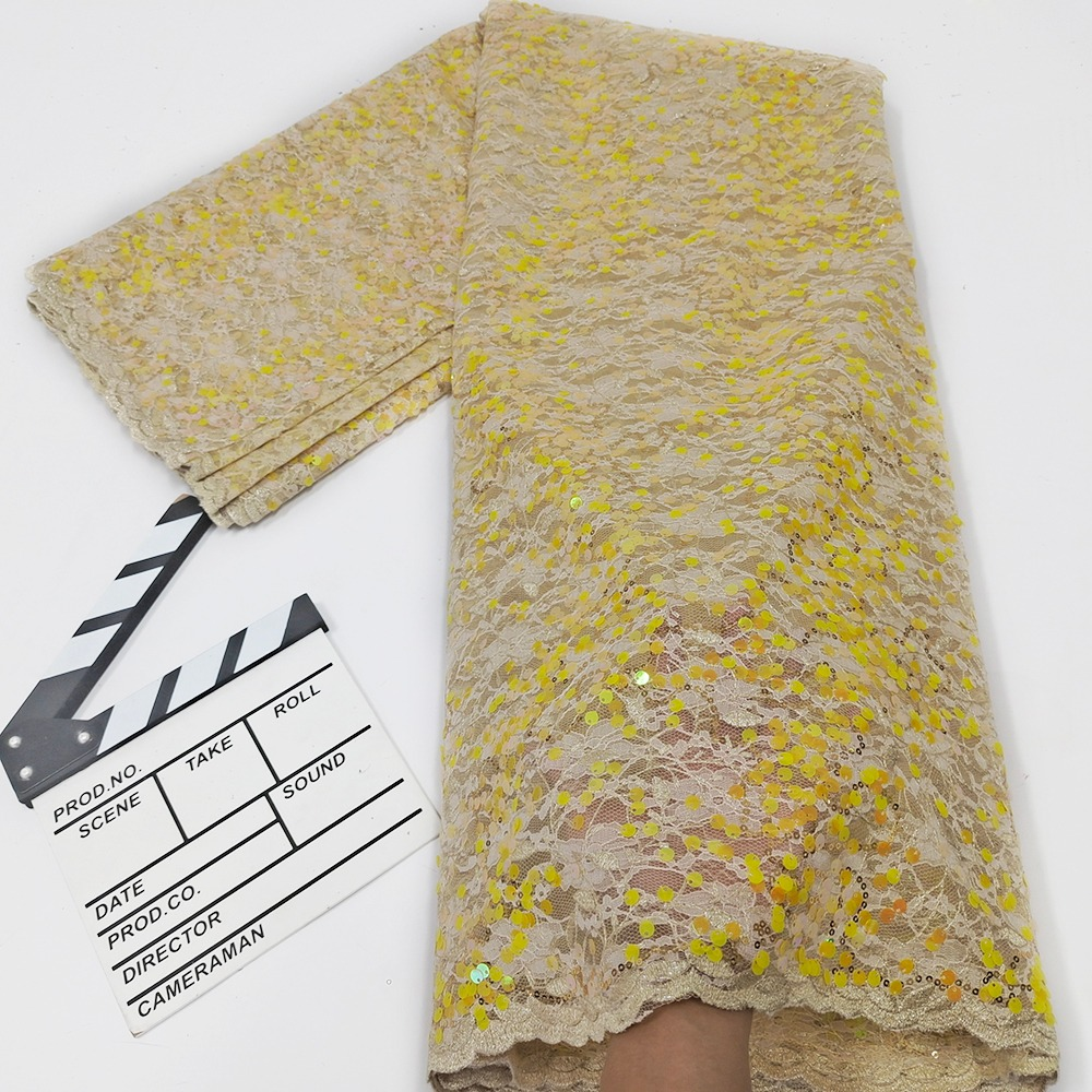 Yellow French Lace Fabric